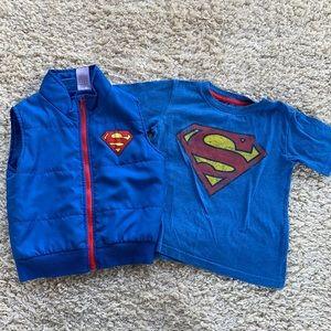 Superman Toddler Tee Shirt & Puffy Vest Zipper